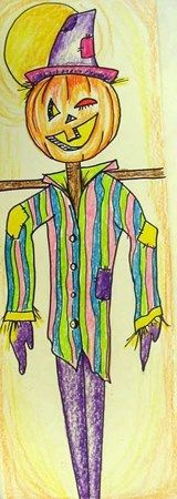 A fun, interesting way to do a scarecrow for older grades.  I'm thinking 9 x 24 paper with permanent marker outlined over their pencil and then colored pencils for the value.