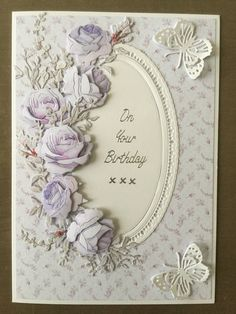 Using the Tattered Lace summer fragrance collection Felt Crafts Patterns, Felt Crafts Diy, Butterfly Cards, Flower Cards, 70th Birthday Card, Birthday Greetings, Wedding Anniversary Cards, Wedding Cards, Tattered Lace Cards