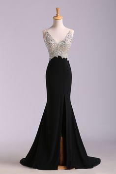 sexy prom dresses black sheath v-neck court train v-back with high slit beaded bodice