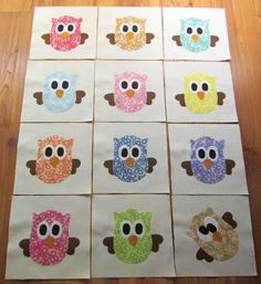 "Set of 12 Vintage 1930's Fabric Whimsical Owls Cross-eyed 6"" x 6"" Quilt Blocks   #Unbranded"