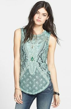 Free People 'Not So Sweet' Lace Tank available at #Nordstrom