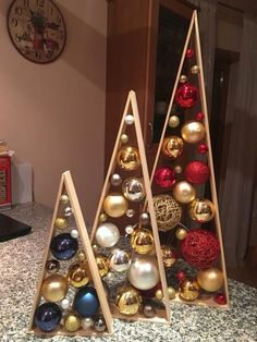 25 Rustic Stained A-frame Christmas Tree Ornament Display/ Ornament Hanger 14 This item is perfect for your own home décor and also makes a wonderful gift! Great for Christmas Easy Christmas Decorations, Rustic Christmas, Christmas Projects, Simple Christmas, All Things Christmas, Christmas Tree Ornaments, Christmas Holidays, Holiday Decor, Decorated Christmas Trees