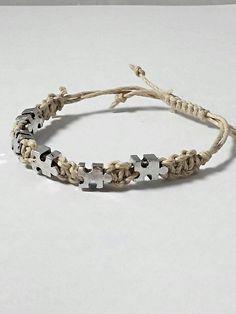 Autism awareness European puzzle piece beaded adjustable hemp bracelet. https://www.etsy.com/listing/239274561/autism-awareness-bracelet-hemp-bracelet