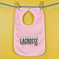 Baby Bib Id Rather Be Playing Lacrosse - An adorable super soft cotton bib for your #1 Fan.