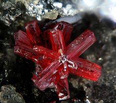 Proustite  Imiter Mine, Imiter, Djebel Saghro, Ouarzazate, Souss-Massa-Draâ, Morocco  fov 4 mm Photo by Christian Rewitzer