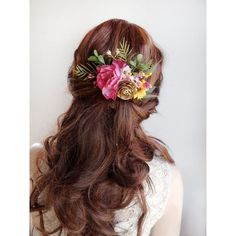 floral hair comb, bridal flower hairpiece, bridal headpiece, pink... ❤ liked on Polyvore featuring accessories, hair accessories, bride hair comb, bridal hair comb, bridal hair accessories, bridal flower hair clip and flower hair accessories