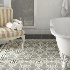 Poser des carreaux de ciment au sol dans la salle de bain ça lui donne un charme fou.