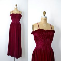 Sigh....one of the most breathtaking dresses Ive had in my possession! 1930s magenta silk velvet bias cut gown with an exquisite gathered bodice with boning and rows of elastic at the bust and waist.