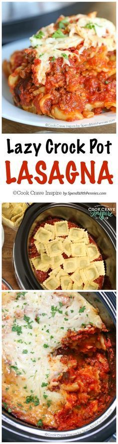 Lazy Crock Pot Lasagna is a family favorite and so quick and easy to make! A delicious meat sauce is layered with cheese and spinach filled ravioli and loads of gooey cheese and cooks up perfectly in (Italian Recipes Crockpot) Crock Pot Food, Crockpot Dishes, Crock Pot Slow Cooker, Slow Cooker Recipes, Beef Recipes, Cooking Recipes, Crock Pots, Slow Cooking, Gastronomia