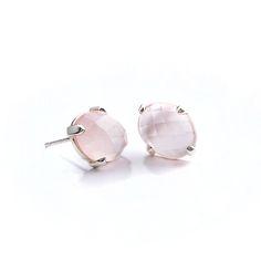 Earrings : Rose Quartz Studs Silver