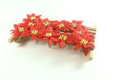 Vintage Christmas Poinsettia Flower Napkin Rings