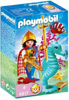"Playmobil Ocean Prince by Playmobil. $7.79. 3.9 x 5.9 x 2 inches. The enchanting Ocean Kingdom for girls provides plenty of collecting fun for established PLAYMOBIL fans and newcomers alike. Collecting fever has broken out ""under water"" as well: the six fairytale ocean dwellers and the seahorses with their mother-of-pearl shimmer make an enchanting team. The white seashell with the five cute little seahorse babies is especially appealing. The remarkable feature of this..."
