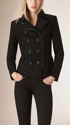 Burberry Black Cropped Wool Cashmere Blend Jacket - A cropped peacoat in an Italian-woven virgin wool and cashmere blend with leather undercollar. The close-fitting silhouette is engineered by structured seems and a tapered waist. Discover the women's outerwear collection at Burberry.com