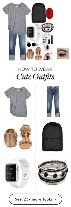 """""""cute school outfit"""" by natjenks13 on Polyvore featuring Current/Elliott, Qupid, Rains, Bling Jewelry, Chanel and Winky Lux"""