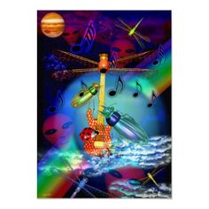 Beetles play dragonfly guitar posters by valxart for $23.55 is on Value Poster Paper (Matte)  For low-cost, long-lived posters, select Zazzle's Value Poster Paper. This very white paper creates vibrant art and photo reproductions.