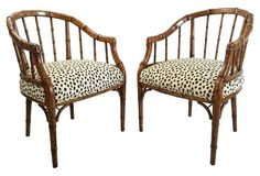 $1495 Burlwood Barrel-Back Chairs, Pair