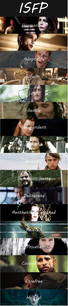 Credits to http://fictionalcharactermbti.tumblr.com/ . Thank you for making such lovely photo that describes us all. ISFP movie characters.