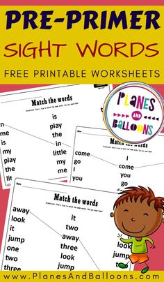 Preschool sight words matching – Dolch pre-primer sight words worksheets Preschool sight words activities and worksheets – free printable. Preschool Sight Words, Sight Word Activities, Phonics Activities, Reading Activities, Sight Words Printables, Sight Word Worksheets, Matching Worksheets, Pre Primer Sight Words, Dolch Sight Words
