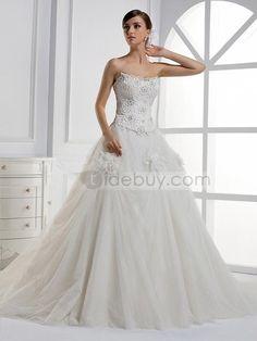 A-ラインストラップレスフラワーロングフロア大聖堂トレーンウェディングドレス