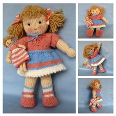 Lulu and little doll knitting pattern  INSTANT por dollytime