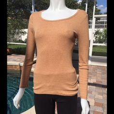 Tan Long Sleeved Sweater Soft long sleeved top with a scoop neck. Lightweight and stretchy. Cotton and spandex. Old Navy Sweaters Crew & Scoop Necks