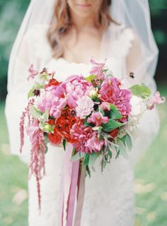 Overly gorgeous pink bouquet: http://www.stylemepretty.com/2015/01/05/berry-colored-oahu-wedding/ | Photography: Great Romance - http://thegreatromancephoto.com/
