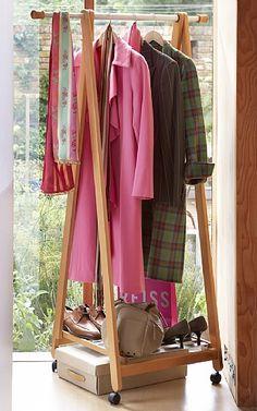 Extendable wheeled wooden garment rack