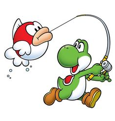 Yoshi lands a fat Cheep cheep on the end of his rod from the official artwork set for #MarioPartyAdvance on the #GameBoyAdvance. #GBA. Visit for more info http://www.superluigibros.com/mario-party-advance-gba