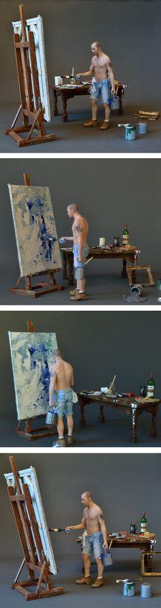SEXY MALE PAINTER, Miniature 1:12, OOAK, Art Sculpture by AMSTRAM in | eBay