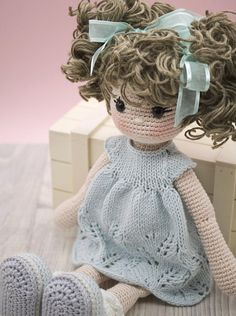 Amigurumi crochet DOLL Sweet cuddly doll with knitted dress