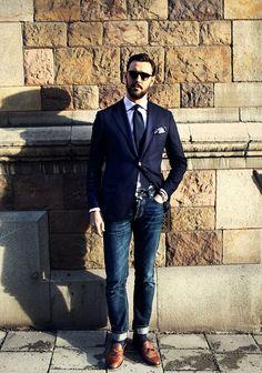 ジャケットとジーンズメンズ着こなしmens fashion & style