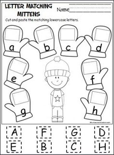 Free cut and paste letter matching activity for the winter.  Cut out the uppercase letters and paste them on the mittens with the matching lowercase letters.