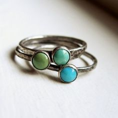 Trio of Rustic Turquoise Stacking Rings in Antiqued Sterling Silver - Solid - $99.00