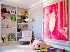 belle maison: Chic Nursery via Vogue Love the Liz Taylor Little Green Notebook, Pink Painting, Boutique Deco, Chic Nursery, Nursery Room, Little Girl Rooms, Kid Spaces, My Living Room, Living Area