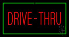 Red Drive-Thru Rectangle Green Neon Sign 20 Tall x 37 Wide x 3 Deep, is 100% Handcrafted with Real Glass Tube Neon Sign. !!! Made in USA !!!  Colors on the sign are Green and Red. Red Drive-Thru Rectangle Green Neon Sign is high impact, eye catching, real glass tube neon sign. This characteristic glow can attract customers like nothing else, virtually burning your identity into the minds of potential and future customers.