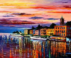 "Lake Como, Bellagio — PALETTE KNIFE Oil Painting On Canvas By Leonid Afremov - Size: 36""x30"" (90cm x 75cm)"