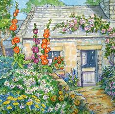 """Please Come in for Tea Storybook Cottage Series"" - Original Fine Art for Sale - � Alida Akers"
