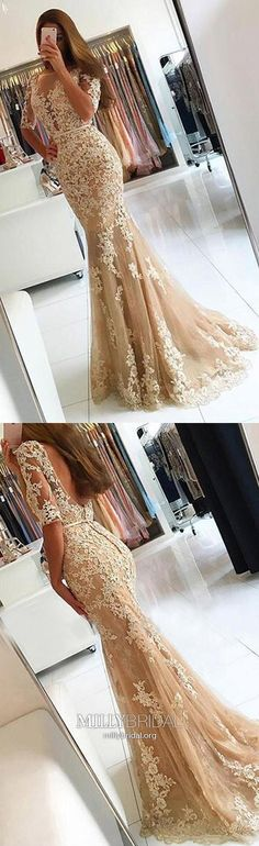New arrival Champagne Mermaid Evening Dresses Glamorous Sexy Tulle Appliques Half Sleeve Backless Pageant Gowns Prom Dresses · BanquetGowns · Online Store Powered by Storenvy Prom Dresses For Teens, Prom Dresses With Sleeves, Backless Prom Dresses, Formal Dresses For Women, Cheap Dresses, Party Dresses, Dress Prom, School Dresses, Wedding Dresses