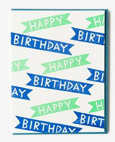 Happy Birthday Banners Card By Bench Pressed
