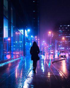 Woman walking under the rain rainy night pink blue wet colors digital art futuristic artwork