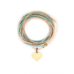The Makery Heartstring long beaded necklace – Turquoise Necklace, Beaded Necklace, Rainbow Colors, Seed Beads, Brass, Charmed, Heartstrings, Boho, Collection