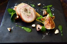 Chicken and Mushroom Ballotine with Pan Roasted Figs and Crushed Cobnuts. The British Larder.