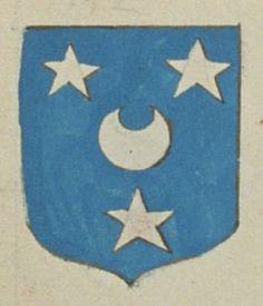 René de SERRE, curé de S.t Martin de Cercé. Porte : d'azur, à un croissant d'argent, accompagné de trois étoiles de même | N° 132 > Loches