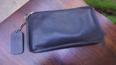 Vintage Black Coach Leather Envelope Wallet or Clutch Authentic Vintage Coach, Small, Fabric Lined Simple Leather Pouch Phone Wallet 1980s