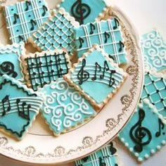 Music Theme Wedding / Bridal Shower Cookies (blue)