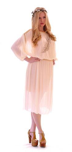 Gold Trim Pleat Grecian Dress | Damsel Vintage - 70s Vintage Fashion