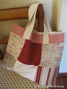 El Blog de Nieves. Labores y Punto de cruz: Bolsos de costura tote bag patchwork