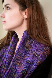 This is a super easy, super quick cowl that works great with variegated yarns or even handspun. It takes one skein (approx. 200 yards) of aran weight, and is worked flat and seamed.