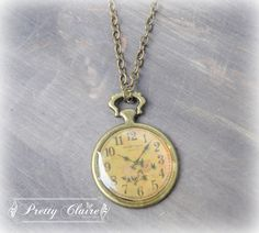 Clock handmade necklace clock pendant vintage by PrettyClaire Clock Necklace, Old Things, Things To Come, Handmade Necklaces, Pocket Watch, Personalized Items, Etsy, Chain, Vintage