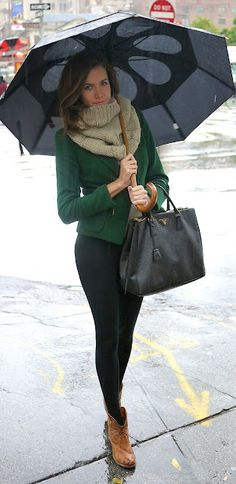 Cosy outfit. Taupe scarf, green jacket, black leggings and tan ankle boots